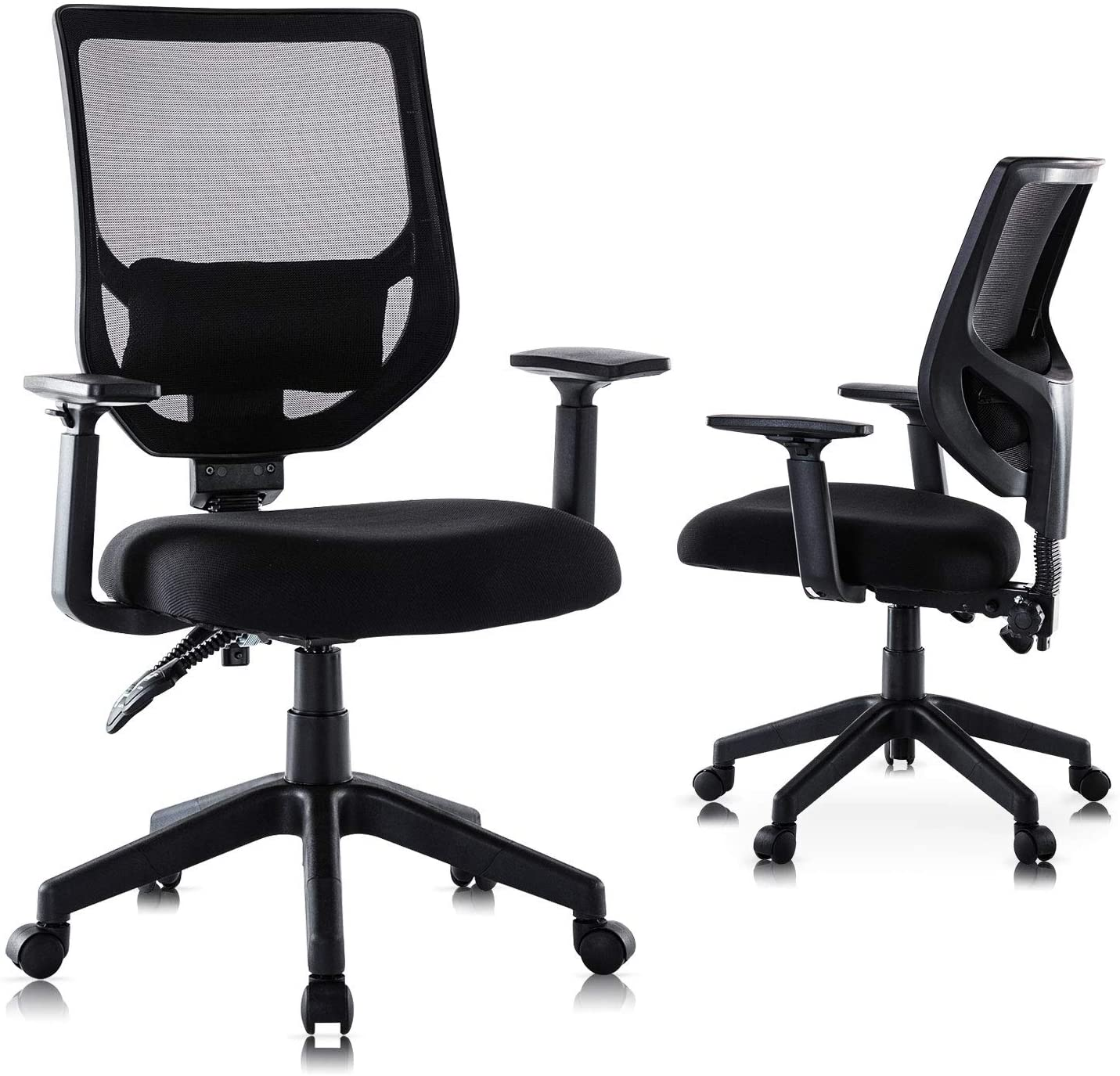 Rimiking Mesh Office Chair, Mid Back Ergonomic Swivel Black Mesh Computer Chair Adjustable Height and Armrest with Lumbar Support Task Chair