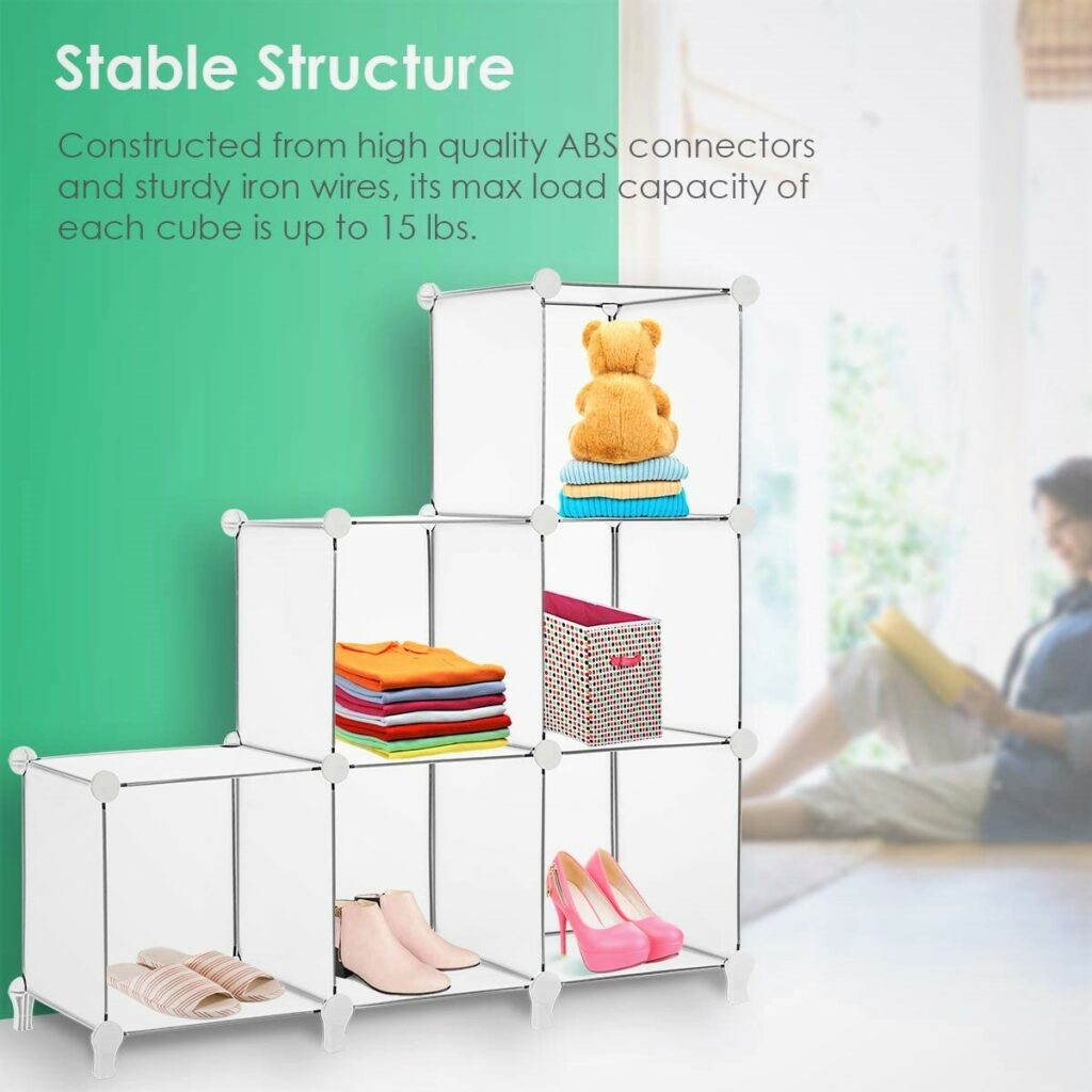 TomCare Cube Home Office Storage 6-Cube White Bookshelf Organizer