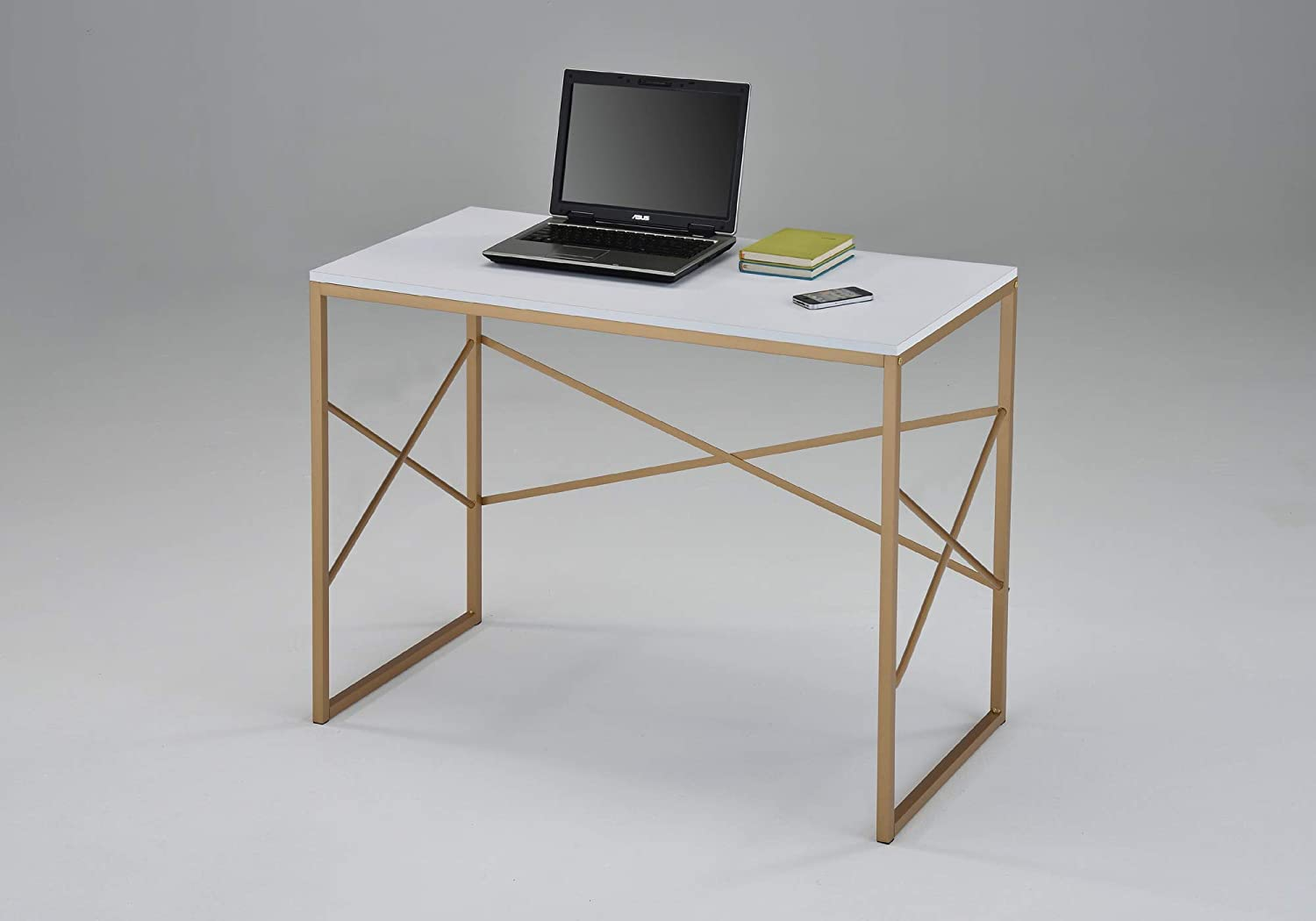 White and Gold Finish Computer Laptop Writing Study Desk Modern Home Office with X-Design by RAAMZO