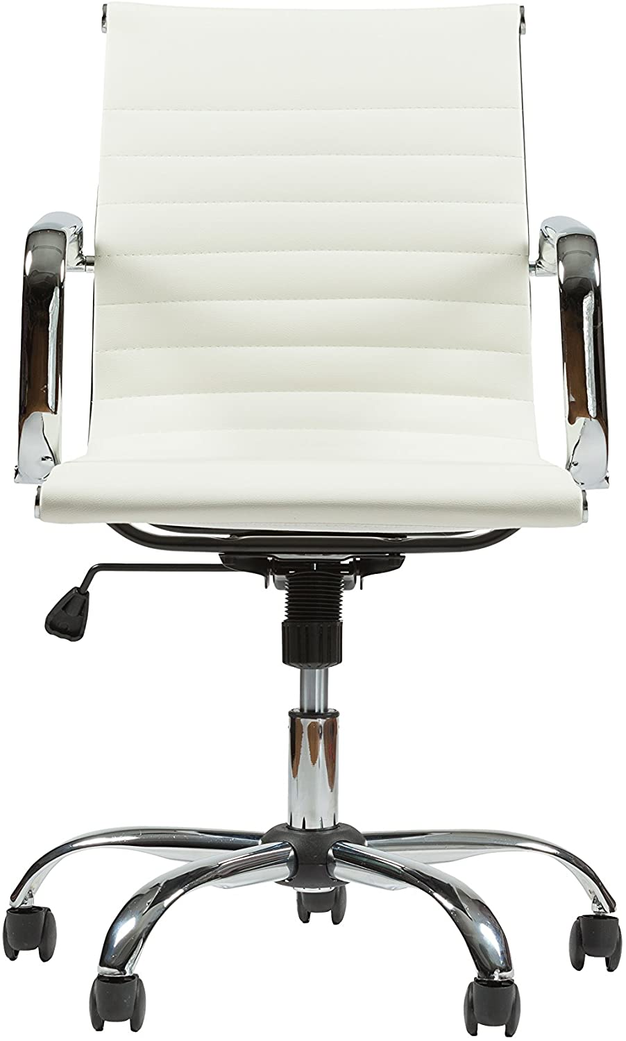 Winport Furniture WF-7160 Mid-Back Leather Office Desk Chair, Single Stack, White