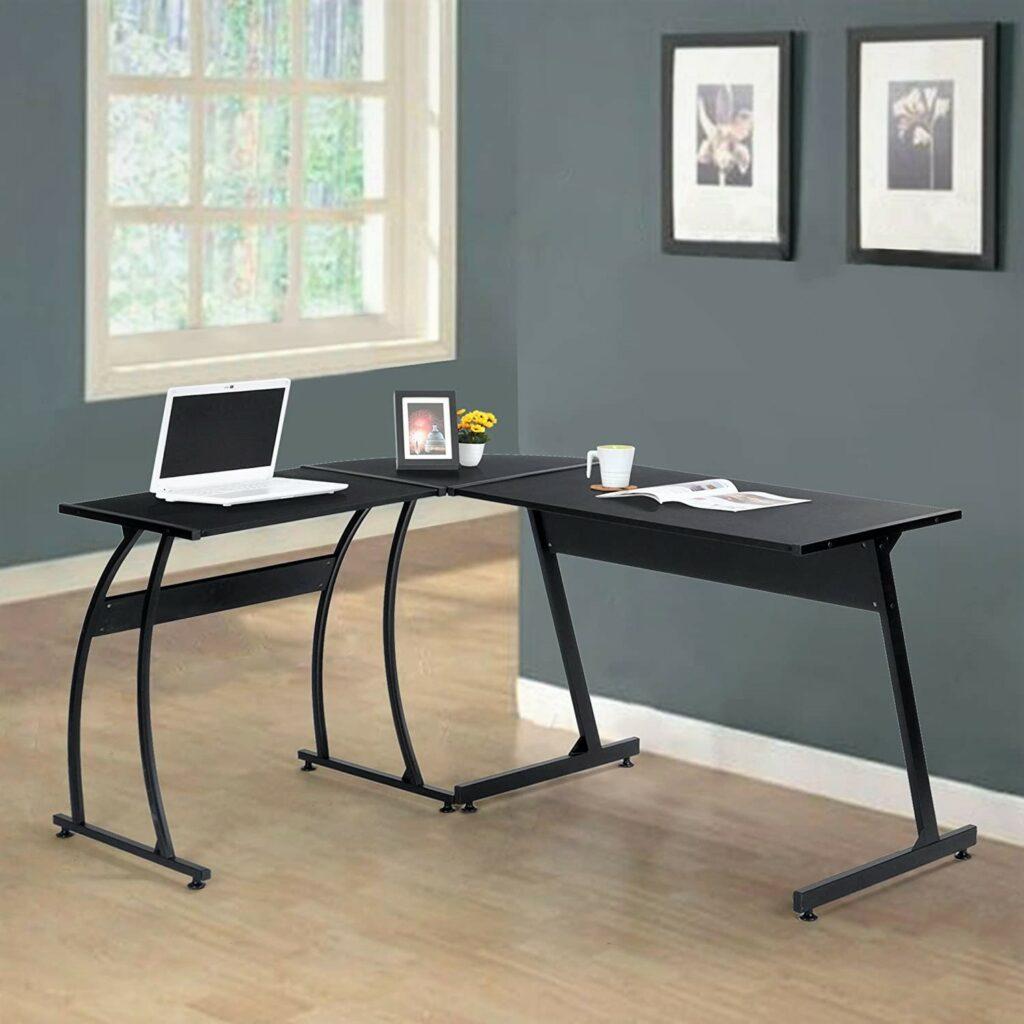 Wood L-Shape Home Office Corner Computer Desk